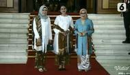 Wury Estu Handayani, Iriana Jokowi, dan Mufidah Kalla saat menghadiri pelantikan Presiden dan Wakil Presiden terpilih periode 2019-2024, Joko Widodo dan KH Ma'ruf Amin. (Screenshot Vidio.com/Liputan6.com)