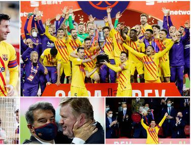 FOTO: Selebrasi Pemain Barcelona usai Menjuarai Copa Del Rey, Gerard Pique Gunting Jaring Gawang