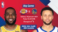 Live streaming big game NBA, Lakers vs Warriors, Selasa (19/1/2021) pukul 10.00 WIB dapat disaksikan melalui platform Vidio. (Dok. Vidio)