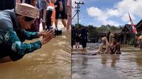 Viral pasangan pengantin lakukan pemotretan di tengah banjir. (TikTok/pengengakinsecure)