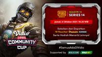 Jadwal dan Live Streaming Vidio Community Cup Season 14 PUBGM Series 14, Jumat 8 Oktober 2021. (Sumber : dok. vidio.com)