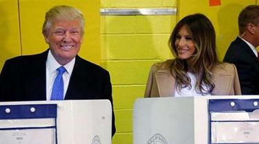 Ini Gaya Melania Dampingi Trump Saat Memilih di Pemilu AS