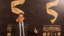 Dirut PT GTS yang juga Waketum PSSI, Joko Driyono, saat menghadiri Awarding Night TSC 2016 di Hotel Aryaduta Bandung, Jawa Barat, Minggu (8/1/2017). (Bola.com/Vitalis Yogi Trisna)
