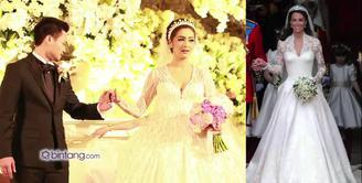 Dalam resepsi pernikahannya dengan Reshwara Argya, Minggu (20/12) Nabila Syakieb tampil anggun, gaun pengantinnya terinspirasi gaun pengantin Kate Middleton.
