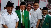 Ketua Umum PPP Suryadharma Ali datang dalam kampanye Partai Gerindra di Stadion Gelora Bung Karno.