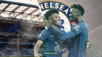 Dua penyerang Chelsea: Willian dan Tammy Abraham. (Bola.com/Dody Iryawan)