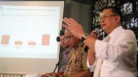 Ketua DPR Bambang Soesatyo saat hadir dalam rillis survei yang diadakan lembaga survei Charta Politika Indonesia di Jakarta, Selasa (28/8). Survei diadakan di delapan kota besar di Indonesia. (Liputan6.com/JohanTallo)