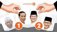 Banner nomor urut Jokowi dan Prabowo di Pilpres 2019. (Liputan6.com/Abdillah)