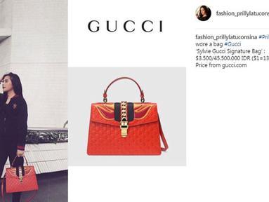Tas Prilly Latuconsina warna oranye ini bermerek Gucci. Tas berharga Rp 45 juta. (Foto: instagram.com/fashion_prillylatuconsina)