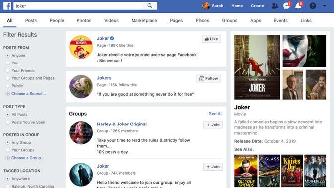 Hasil pencarian di kolom Facebook Search (Foto: TechCrunch)