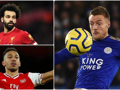 Berikut ini daftar topskor sementara Premier League musim 2019/2020. Jamie Vardy berada di posisi pertama dengan koleksi 19 gol, sementara Mohamde Salah berada di urutan keempat dengan torehan 16 gol. (kolase foto AFP)