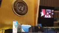 Menlu Retno Marsudi dalam Sesi Khusus Sidang Majelis Umum PBB secara virtual pada 3-4 Desember 2020. (Dok: Kemlu RI)