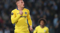 Selebrasi Ros Barkley usai mencetak gol ke gawang Malmo FF pada leg 1, 32 besar Liga Europa yang berlangsung di stadion Swedbank, Malmo, Jumat (15/2). Chelsea menang 2-1 atas Malmo FF (AFP/Andreas Hillergen)
