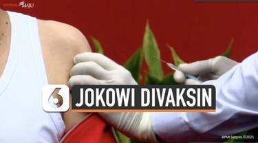 Presiden Joko Widodo menerima suntikan vaksin Covid-19 Sinovac dosis kedua. Penyuntikan vaksin dilakukan Rabu (27/1) pagi di Istana Merdeka Jakarta.