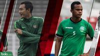 Duel kapten Timnas Indonesia dan Timor Leste, Hansamu Yama dan Jorge. (Bola.com/Dody Iryawan)