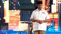 Cagub DKI nomor urut tiga, Anies Baswedan memberikan penjelasan programnya pada Debat Cagub DKI Putaran Kedua di Hotel Bidakara, Pancoran, Jakarta, Jumat (27/1). (Liputan6.com/Faizal Fanani)