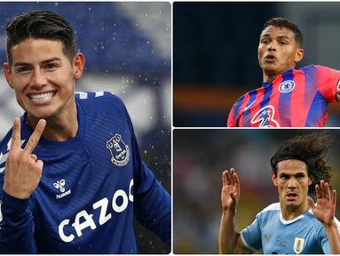 James Rodriguez bergabung Everton dengan status bebas transfer alias pemain gratisan. Selain James Rodriguez ada Edinson Cavani dan beberapa pemain lain yang bergabung secara gratis klub Liga Inggris. Berikut James Rodriguez dan 5 pemain gratis di Liga Inggris. (kolase foto AFP)