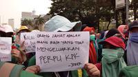 Demo mahasiswa di depan Istana meminta Presiden Jokowi mengeluarkan Perppu KPK.(Liputan6.com/Ady Anugrahadi)