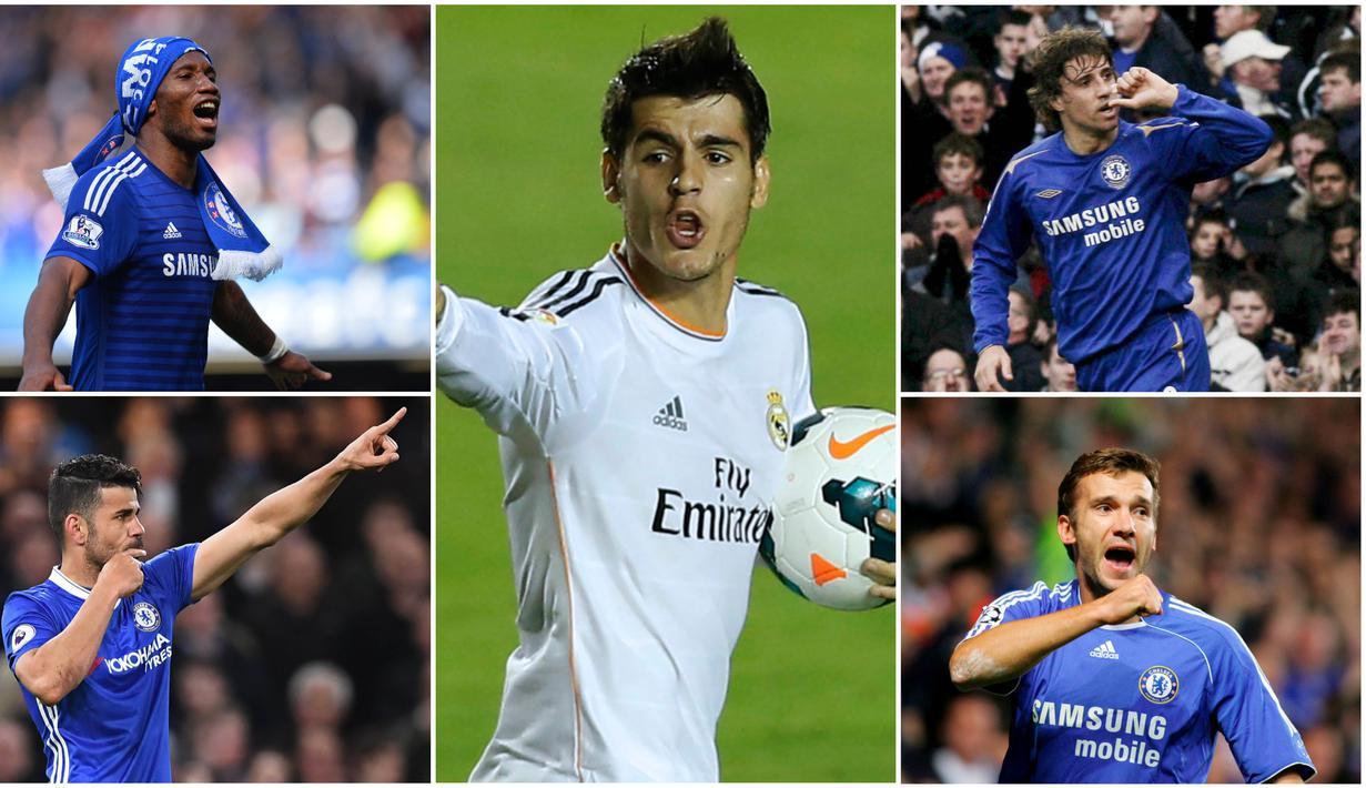 Berikut ini Alvaro Morata dan lima striker mahal yang pernah dibeli oleh Chelsea. Diantaranya, Hernan Crespo dan Andriy Shevchenko. (Foto-foto Kolase AFP dan EPA)