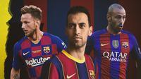 Javier Mascherano, Sergio Busquets dan Ivan Rakitic. (Bola.com/Dody Iryawan)