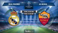 Jadwal Liga Champions 2018-2019, Real Madrid vs AS Roma. (Bola.com/Dody Iryawan)