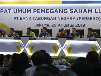 Suasana Rapat Umum Pemegang Saham Luar Biasa (RUPSLB) di Menara Bank BTN, Jakarta, Kamis (29/8/2019).  Dalam RUPSLB tersebut terdapat tiga agenda yang dibahas yaitu evaluasi kinerja semester I 2019, akuisisi Perusahaan Modal Ventura dan perubahan susunan pengurus bank. (Liputan6.com/Angga Yuniar)