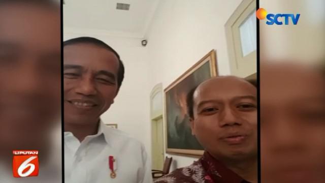 Sutopo sangat senang dan bersyukur bisa berjabat tangan dan bertemu langsung dengan Presiden Jokowi.