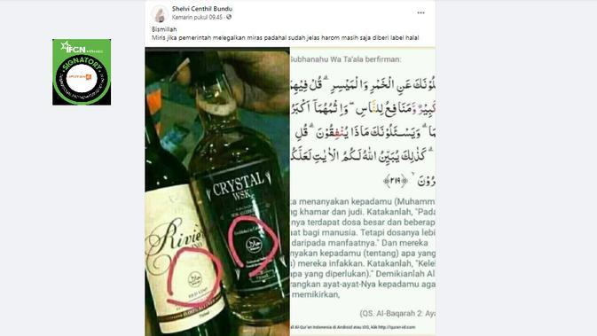 Cek Fakta Liputan6.com menelusuri klaim foto botol miras berlabel halal dari pemerintah