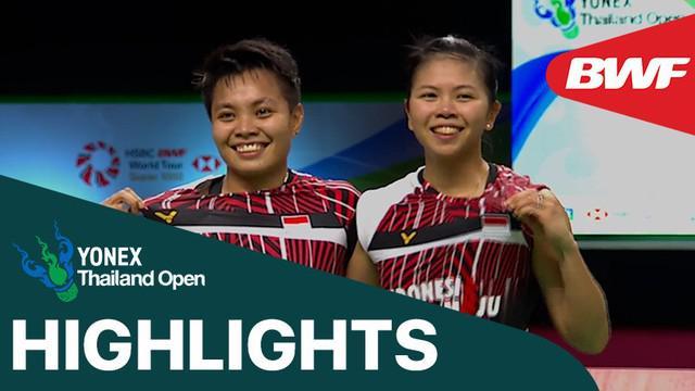 Berita video highlights kemenangan Greysia Polii / Apriyani Rahayu atas wakil dari Korea Selatan pada semifinal Thailand Terbuka 2021, Sabtu (16/1/2021).