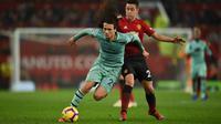 Matteo Guendouzi pada laga Arsenal kontra Manchester United. (AFP/Oli Scarff)