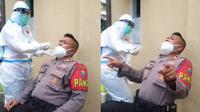 Joget Sembari Melakukan Tes Swab, Aksi Kocak Polisi Ini Jadi Viral. (Sumber: TikTok/saimswsb)