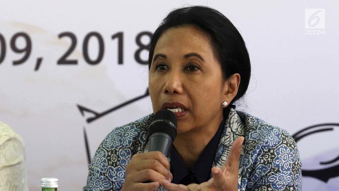 Menteri BUMN Rini Soemarno memberi paparan saat konferensi pers pembukaan Indonesia Investment Forum 2018 di Bali, Selasa (9/10). Acara ini diinisiasi BI, Kementerian BUMN, Kemenkeu, dan OJK serta diorganisir oleh Bank Mandiri. (Liputan6.com/Angga Yuniar)#source%3Dgooglier%2Ecom#https%3A%2F%2Fgooglier%2Ecom%2Fpage%2F2019_04_14%2F455721