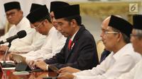 Presiden Jokowi saat menerima para Qori dan Qoriah tingkat internasional dan nasional serta tokoh ulama di Istana Merdeka, Jakarta, Senin (12/6). (Liputan6.com/Angga Yuniar)