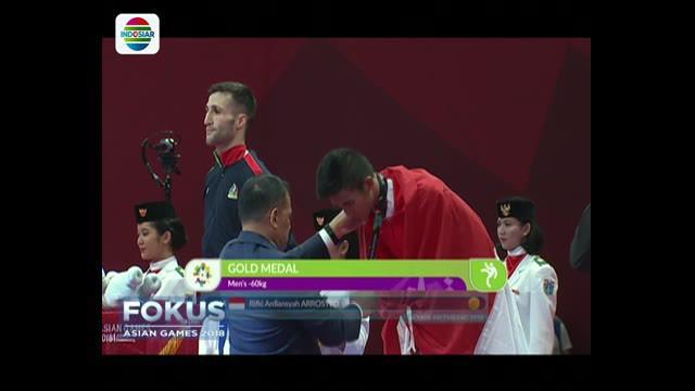 Rifki tampil cemerlang di laga puncak saat menghadapi atlet Iran Amir Mahdi Zadeh di nomor kumite 60 kilogram.