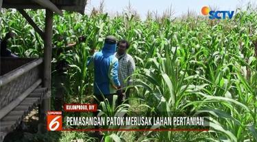 Warga Kulonprogo, Yogyakarta, demo pemasangan pathok tambang pasir karena dinilai merusak lahan tani.
