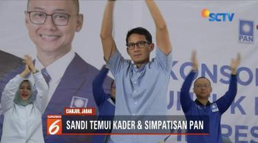 Sandiaga Uno temui 1000 kader dan simpatisan Partai Amanat Nasional di Cianjur, Jawa Barat. Dia berjanji akan sejahterakan petani dan guru honorer.