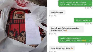 Haru, Driver Ojol Ini Dibelikan Pizza untuk Buka Puasa oleh Pelanggan Non Muslim