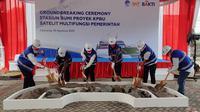 Peletakan batu pertama (ground breaking) ruang kendali Satelit Multifungsi (SMF) Indonesia Raya (SATRIA-1) di Cikarang. (Ist.)