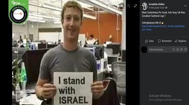 "Gambar Tangkapan Layar Foto yang Diklaim Mark Zuckerberg memamerkan tulisan ""I stand with ISRAEL"" (sumber: Facebook)"