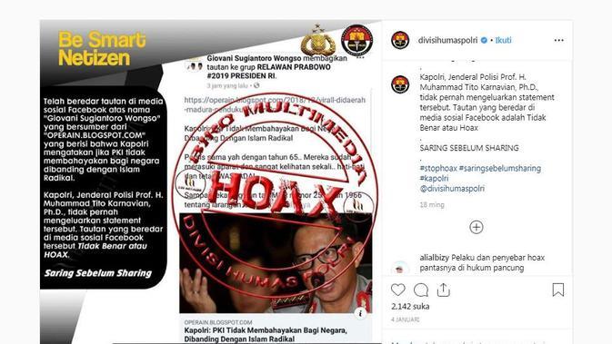 [Cek Fakta] Hoaks Pernyataan Kapolri Sebut PKI Tak Membahayakan Negara
