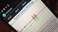 Tampilan aplikasi MyShake, aplikasi yang mampu mendeteksi terjadinya gempa bumi. (Foto: BBC)