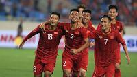 Timnas Thailand U-23 merayakan gol ke gawang Timnas Brunei U-23 di laga perdana Grup K Kualifikasi Piala AFC U-23 2020 di Stadion My Dinh, Hanoi, Jumat (22/3/2019). (Bola.com/Dok. VFF)