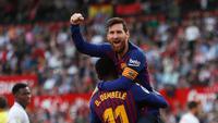 idxbet login | Penyerang Barcelona Lionel Messi memeluk rekan setimnya Ousmane Dembele usai mencetak gol ke gawang Sevilla pada laga La Liga di Stadion Ramon Sanchez Pizjuan, Sevilla, Sabtu (23/2). Barcelona menang 4-2. (AP Photo/Miguel Morenatti)
