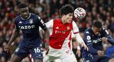 Arsenal berhasil memetik poin penuh usai mengalahkan Aston Villa pada laga pekan kesembilan Liga Inggris 2021/2022, Sabtu (23/10/2021). (AP/Ian Walton)