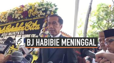 Presiden Joko Widodo berikan pernyataan setelah layat rumah duka BJ Habibie bersama ibu negara. Jokowi sampaikan penghormatan tinggi atas jasa dan pengabdian almarhum.