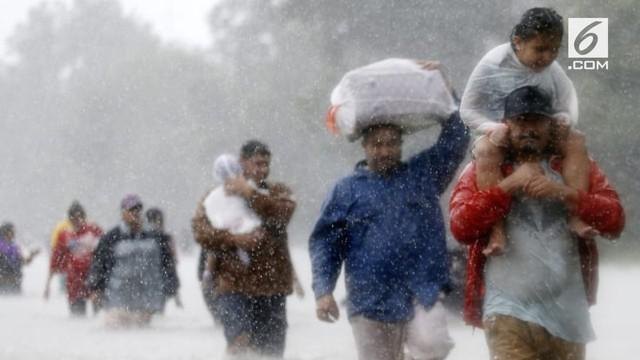 Seiring banjir akibat Badai Harvey yang membuat ribuan orang dari tenggara Texas mengungsi dari tempat tinggalnya.