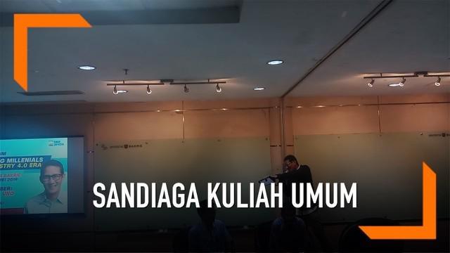 Cawapres 02 Sandiaga Uno memberikan kuliah umum di Universitas Bakrie. Materi yang ia sampaikan terkait 'Managing Millennials in Industry 4.0 Era'.