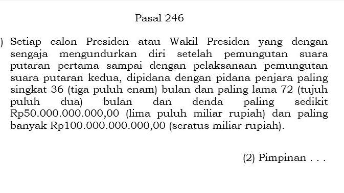 Mundur dari Pilpres, Prabowo Terancam Penjara 6 Tahun