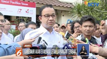Gubernur DKI Jakarta Anies Baswedan akan mengevaluasi keberadaan Lapangan Tembak Senayan usai kejadian peluru nyasar ke Gedung DPR.