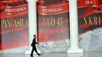 Banner empat pilar kebangsaan di Kompleks Parlemen Senayan, Jakarta, Rabu (15/6). (Antara)